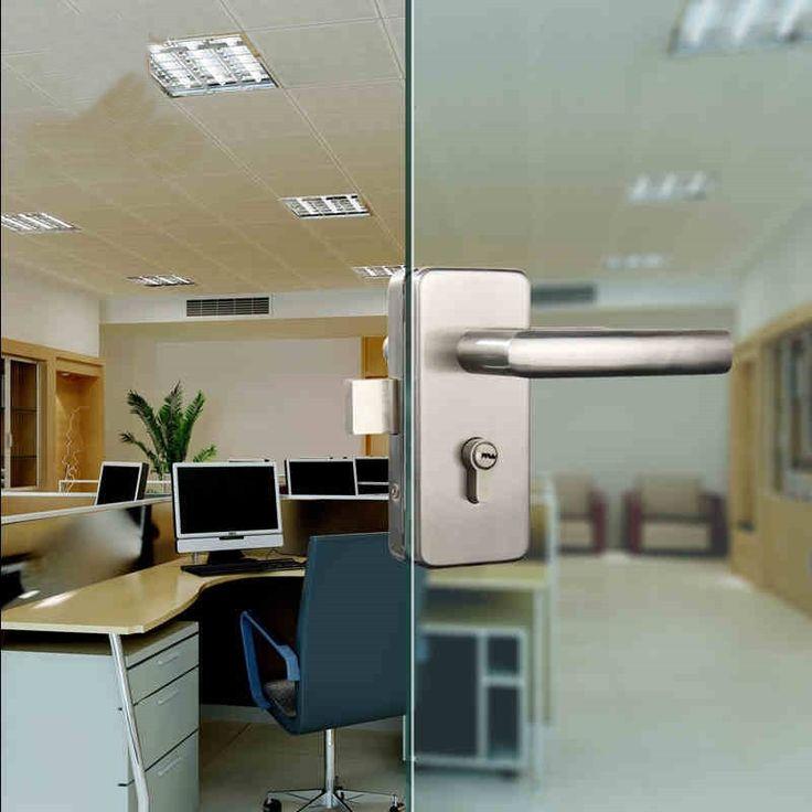 zinc alloy glass swing single door handle with lock kits