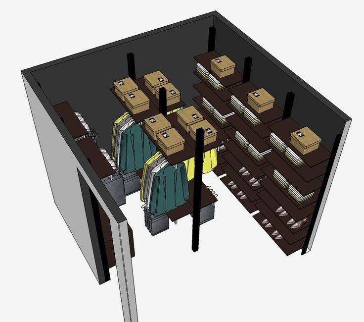 inloopkast 3D ontwerp met zwarte profielen
