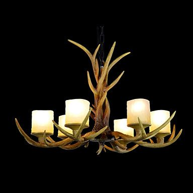 Resin+Chandelier,6+Lights,Vintage+Style+Antler+Shape+Resin+and+Steel+220-240V+–+AUD+$+590.29
