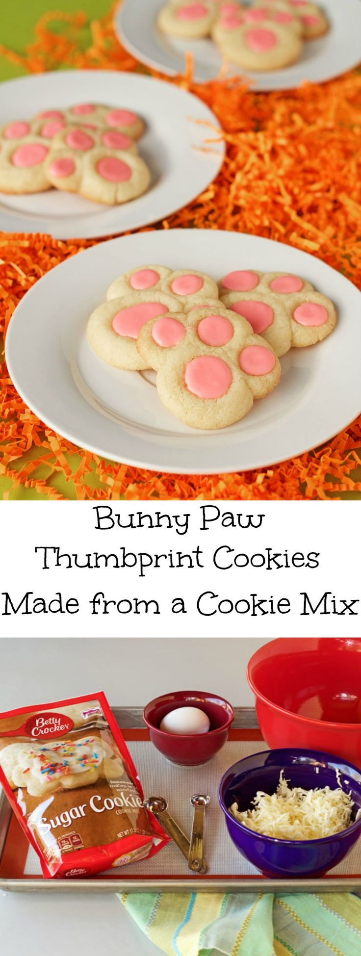 Bunny Paw Thumbprint Cookies Made from a Cookie Mix via www.thebearfootbaker.com