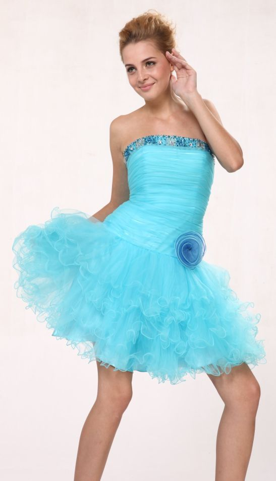Turquoise Tu Tu Prom Dress Short Poofy Strapless Cocktail Tulle Skirt $147.99