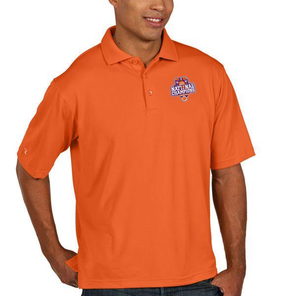 Clemson Tigers Antigua College Football Playoff 2016 National Champions Collegiate Pique Xtra Lite Polo - Orange