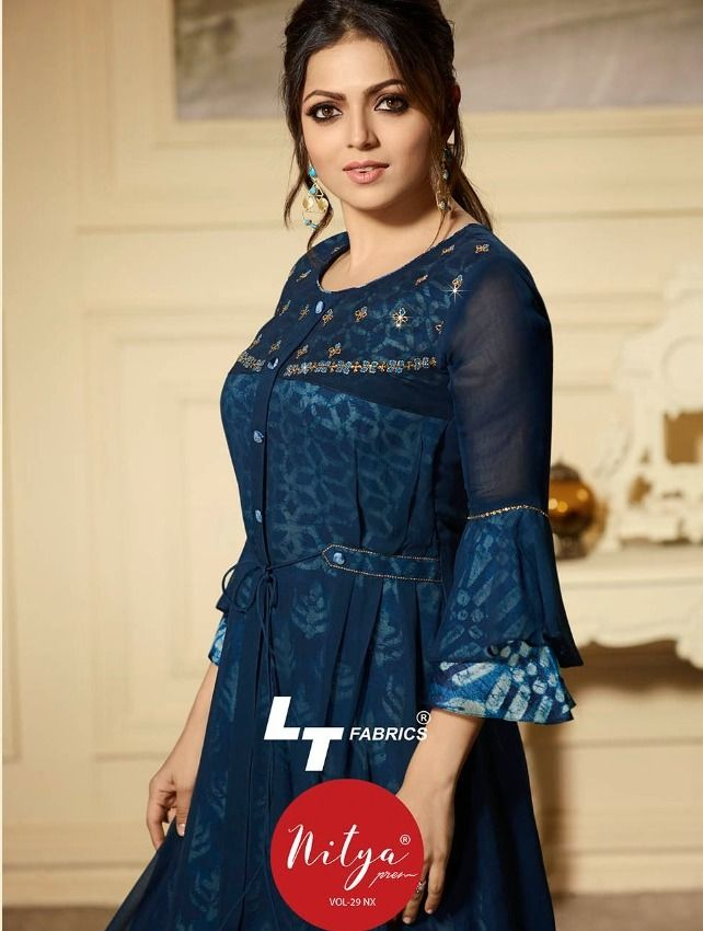 444d327bf4 Book order or inquiry now call or whatsapp : ( +91 ) 8866444471 lt fabrics  presents nitya vol 29 nx georgette trendy kurtis collection wholesaler  exporter ...
