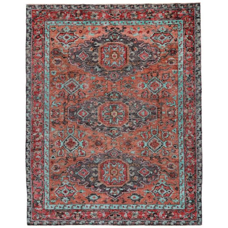 Colorful Hand-Knotted Transitional Rug