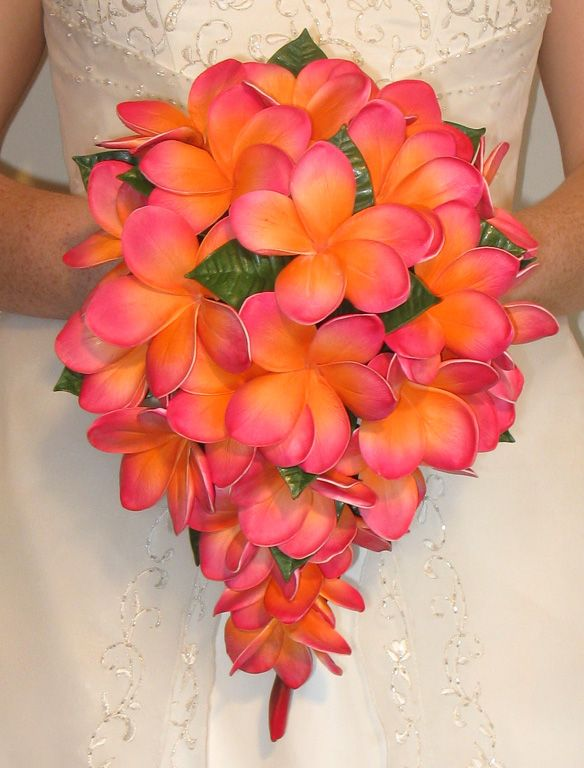 Cascading bouquet only with different purple flowers. Great length