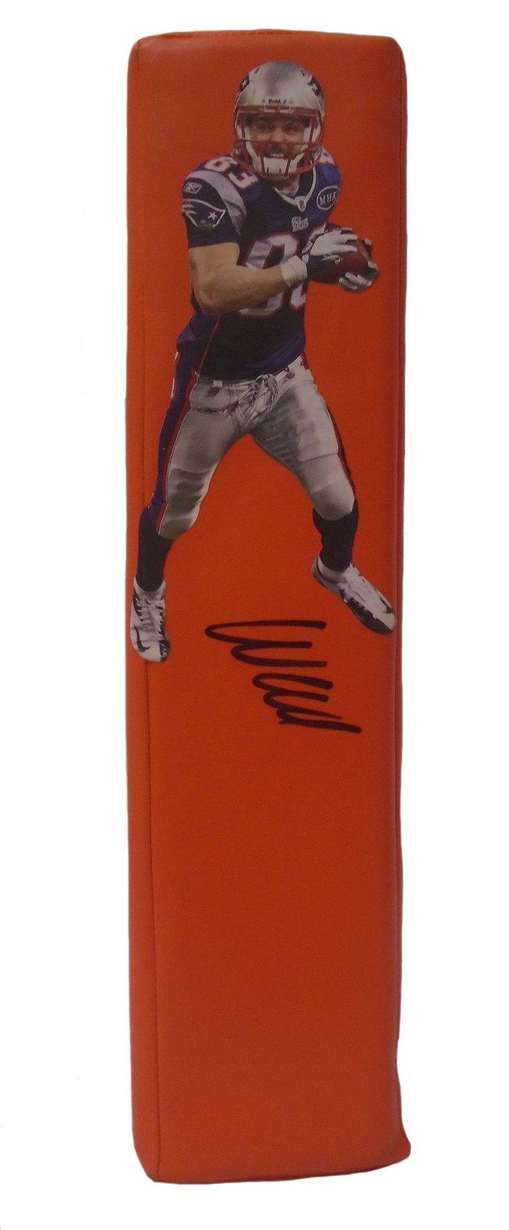 Wes Welker Autographed New England Patriots Football End Zone Touchdown Pylon, Proof. This is a brand-new custom Wes Welker signed New England Patriots Rawlings football end zone pylon.  This pylon measures 3 1/2 inches (Width)  X 3 1/2 inches (Length) X 13 1/2 inches (Height).  Wes signed the pylon in black sharpie. Check out the photo of Wes signing for us. ** Proof photo is included for free with purchase. Please click on images to enlarge. Please browse our website for additional NFL…