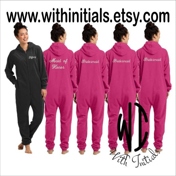 Set of 8 Monogram Adult Onesie Fleece Pajama  by WithInitials
