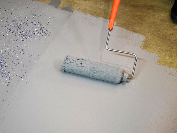 Step 17: Apply Generously In general, roll out the epoxy heavier than you think is needed and conserve the flakes. The epoxy gets absorbed into the concrete pores and will lose its gloss if it is not applied heavy enough.