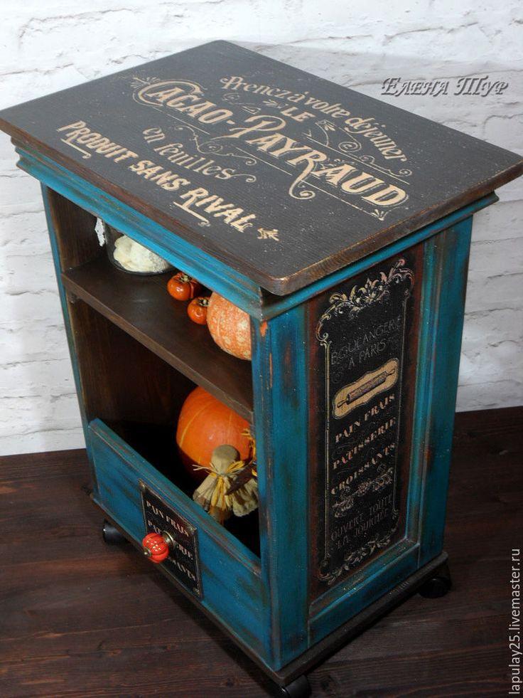 """Купить """"Французское кафе"""" тумба-островок на колесах - комбинированный, тумба, консоль, столик, для кухни"""