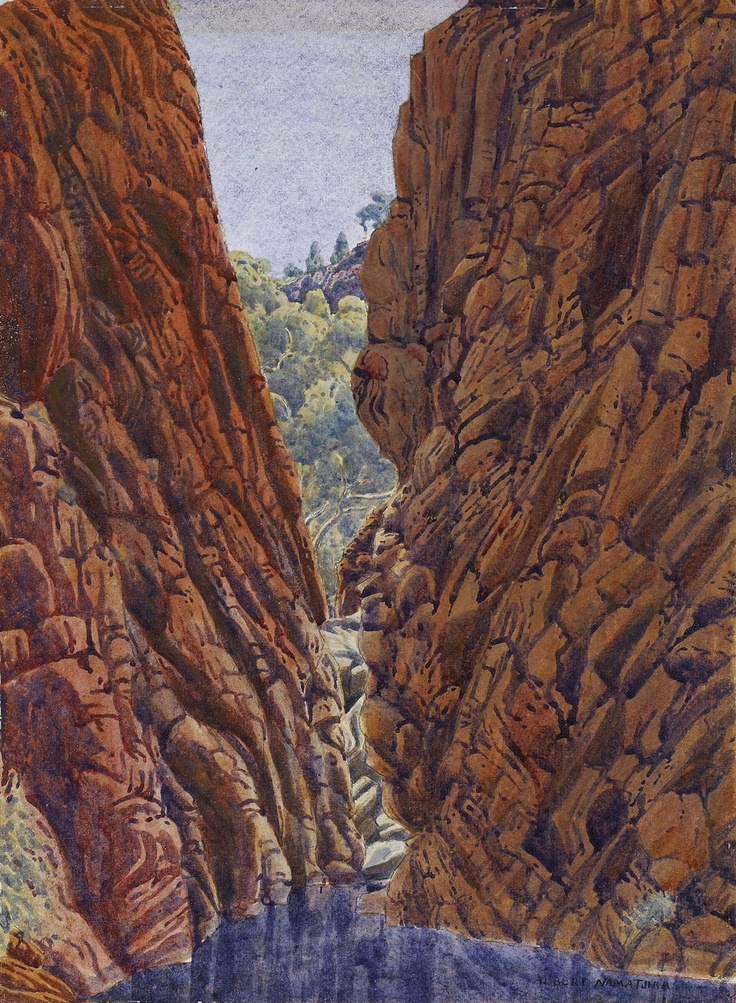 Albert Namatjira circa 1902-1959 NARROW GAP, JAMES RANGE (1943) watercolour and pencil signed ALBERT NAMATJIRA lower right 38 X 27CM  Estimate: $28,000 - $35,000 #sothebys