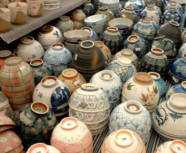 Japanese pottery from the flea markets in Tokyo