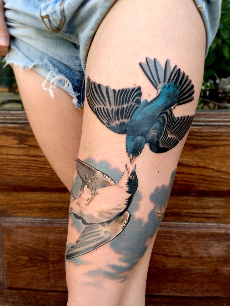 Two birds realistic color tattoo
