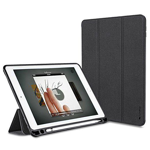 iVAPO Schutzhülle für iPad Pro 9.7 Pencil Halter Premium PU Leder Folio Case mit Auto-Schlafen/ Wecken und Stander Funktion Hülle für iPad Pro 9.7 inch Smart Case (Schwarz)