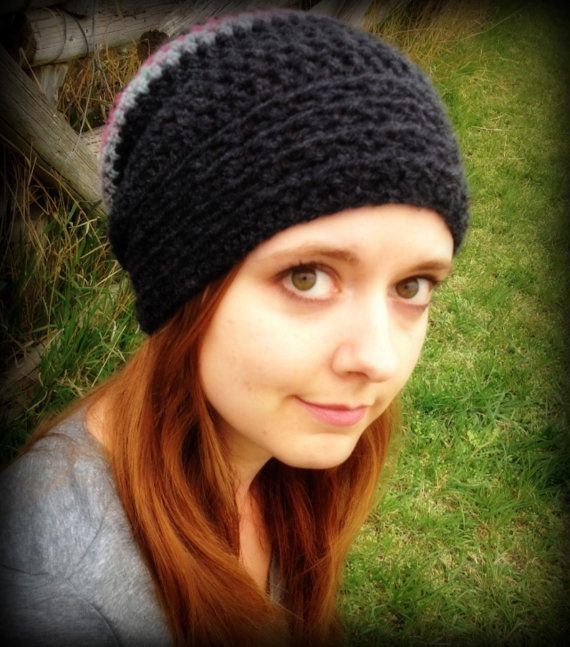 Convertible 2 in 1 Cowl to Slouch Hat - Heathered Charcoal with multicoloured stripes. Ladies/Teens/Kids on Etsy, $25.00 CAD