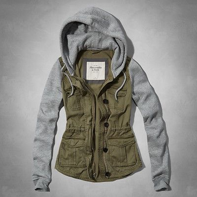 Abercrombie & Fitch Womens New Tristen Jacket Olive with Hoodie Outerwear XS NWT