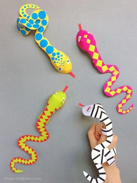 #DIY printable snake finger puppets