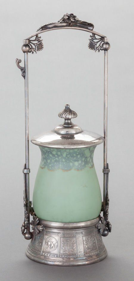 A MERIDEN BRITANNIA SILVER-PLATED PICKLE CASTOR WITH SATIN GLASS JAR Meriden Britannia Company, Meriden, Connecticut, circa 1890