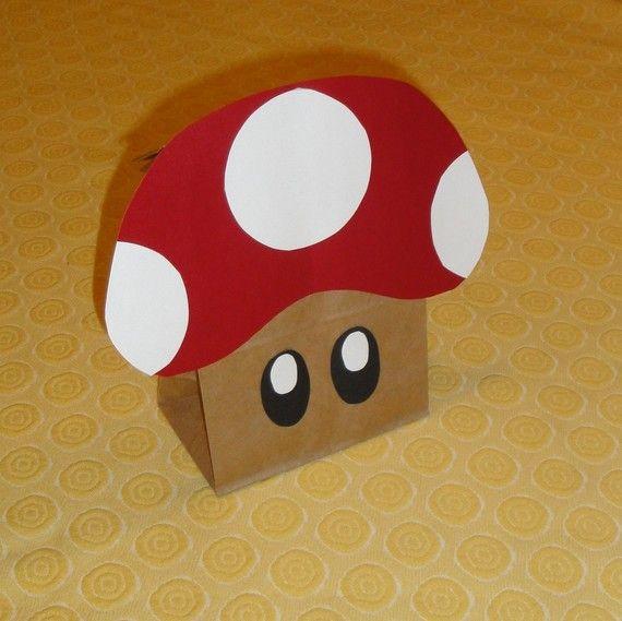 Mario Bros. party treat bags. Looks like an easy DIY