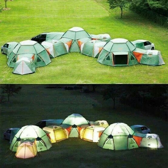 Loving these tents, they all connect together to make a huge fort. Excellent idea, they all zip up together. Love, love, love.
