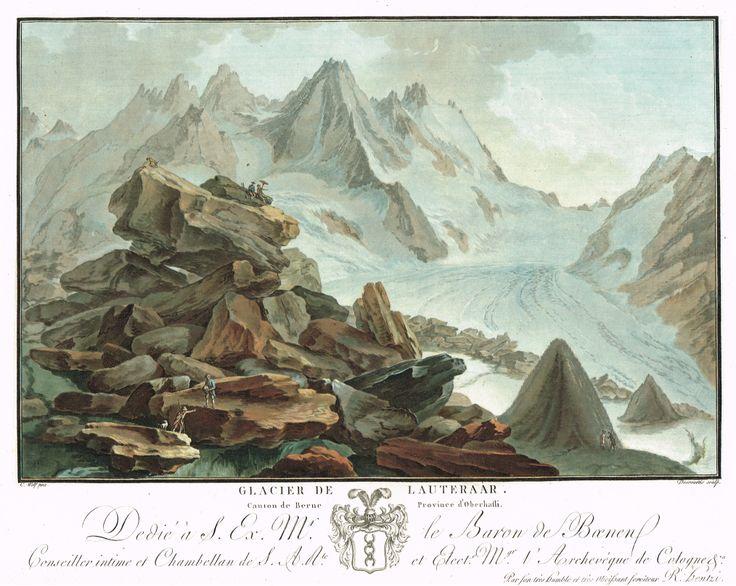 Glacier de Lauteraar, Canton de Berne, Province d'Oberhasli - Aquatinte - gravure imprimée en couleurs par Charles-Melchior DESCOURTIS (1753-1820) d'après Caspar WOLFF (1735-1798) - MAS Estampes Anciennes - MAS Antique Prints