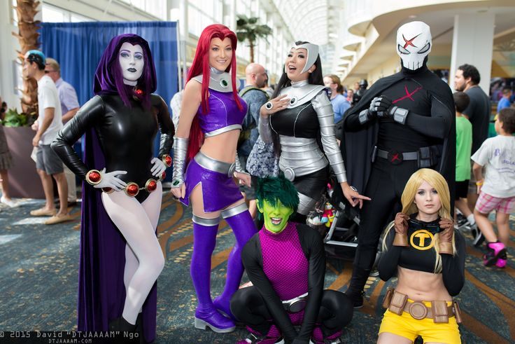 TEEN TITANS — Raven, Starfire, Beast Boy, Blackfire, Red X, and Terra
