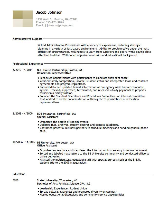 13 best resumes images on Pinterest Resume templates, Sample - archives assistant sample resume
