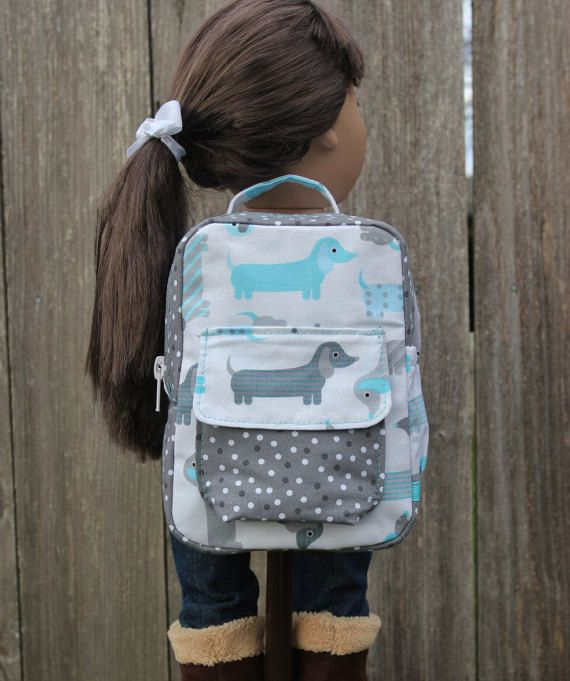 Puppy Backpack American Girl Doll, Our Generation Doll, Dolly and Me or 18 inch dolls by JustForFunStitches.etsy.com