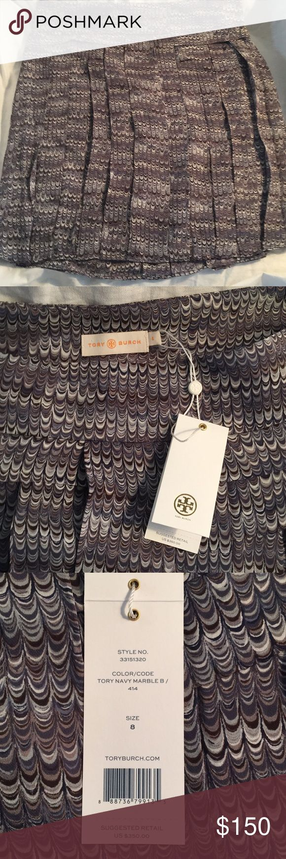 "Tory Burch silk skirt Brand new, never worn silk pleated skirt. Pleats are still tacked. Length is 21"". Tory Burch Skirts Mini"