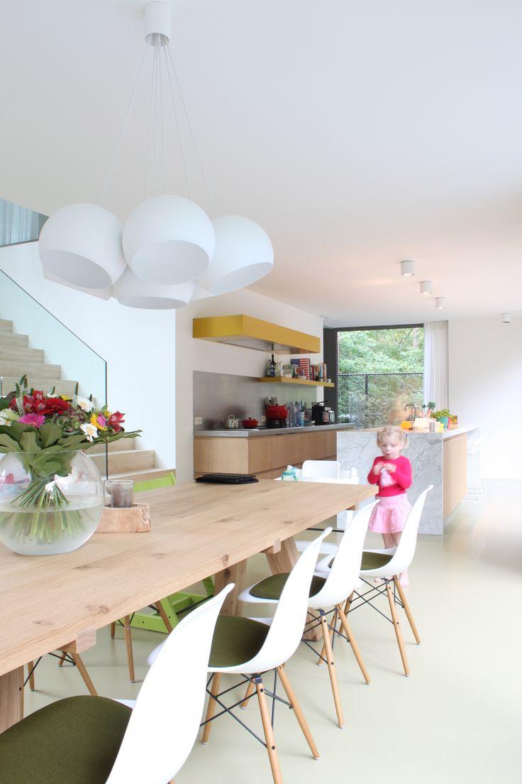 studio k - inrichten buiten- en binnenruimte Brasschaat 2012 (interior, interieur, kitchen, keuken, dining room, eetruimte, gietvloer)