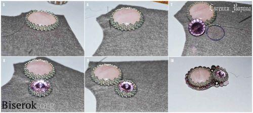 оплетение кабошона мозаикой с уголками, мастер-класс, мк, МК, схема, кулон с розовым кварцем вышивка бисером, оплетение кристалла риволи, об...