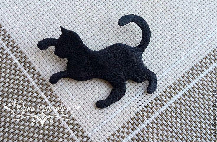 """Купить Брошь из кожи """"Чёрная кошка"""" - черный, брошь из кожи, украшение из кожи…"""