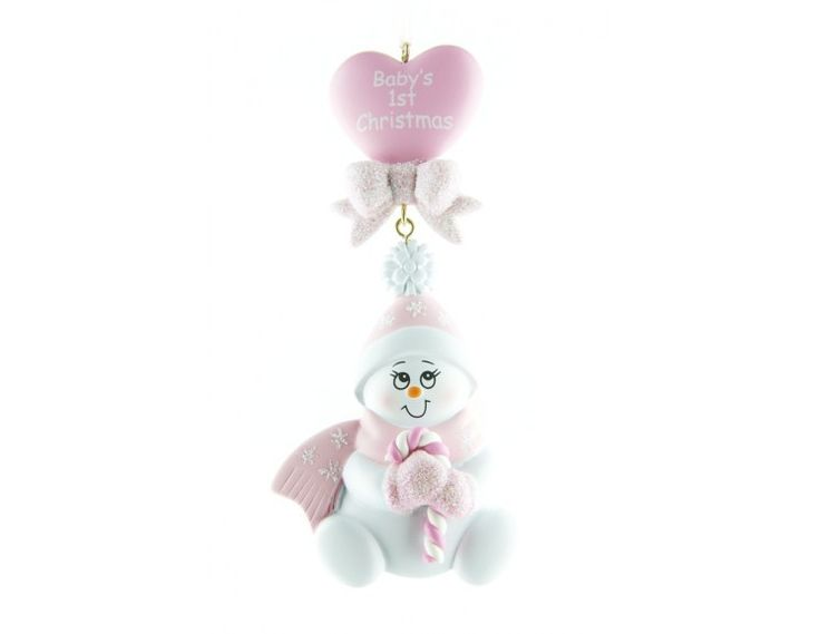 Baby Christmas Ornament Pink Snowbaby Dangling Heart