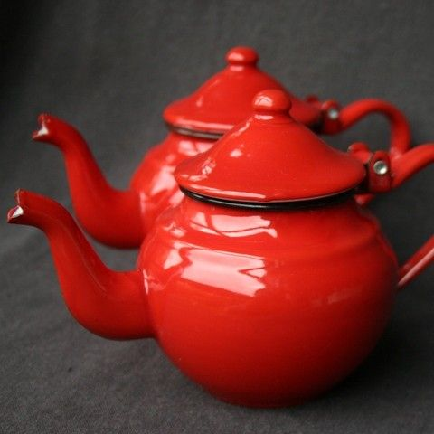 A BU-red teapot for a cold winter day in Boston.