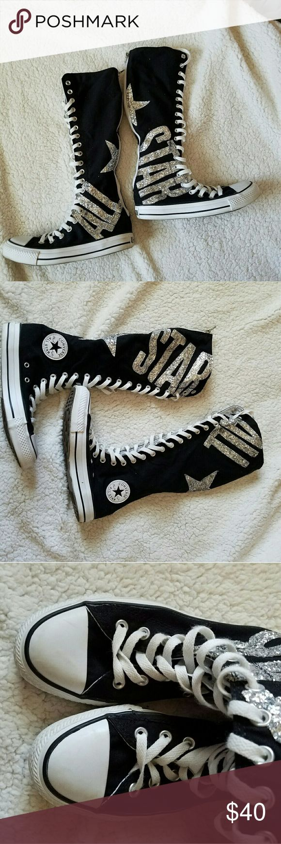 Converse Knee High Bling Chucks Sneakers XX II Size 5. Perfect Shape.  Lace up front, zip up back.  Black with silver glitter. Converse Shoes Lace Up Boots