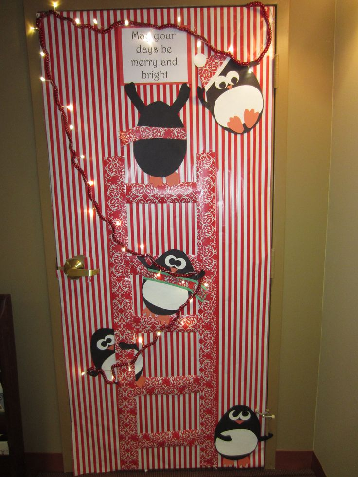 "Christmas / Holiday Door Decoration - ""May Your Days Be Merry and Bright"" with penguins putting up lights.  (Aimée Lefever creation!)"