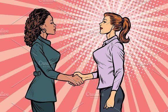 Two Businesswomen Shaking Hands Retro Vector Illustration Retro Vector Business Women