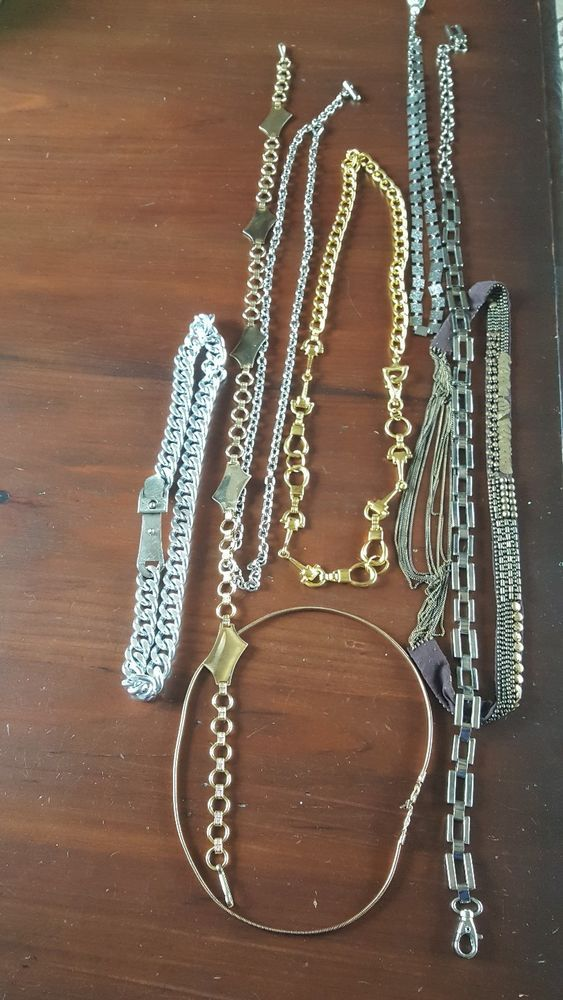 Lot Of 8 Vintage Retro Ladies Belts Silver Tone Gold Tone  Fabric Chunky Thin