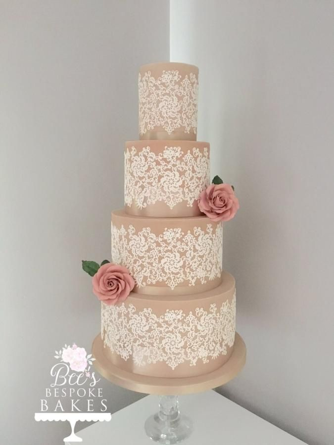 Vintage Lace Wedding Cake by Bee's Bespoke Bakes - http://cakesdecor.com/cakes/283061-vintage-lace-wedding-cake
