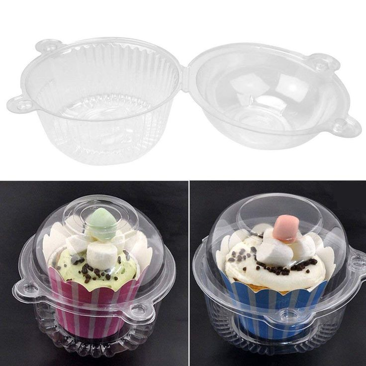 50pcs individual plastic cupcake clear muffin dome holders
