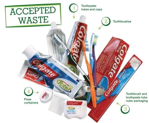 Terracycle -- Recycles toothbrushes, toothpaste containers, floss containers, etc.  (free shipping)