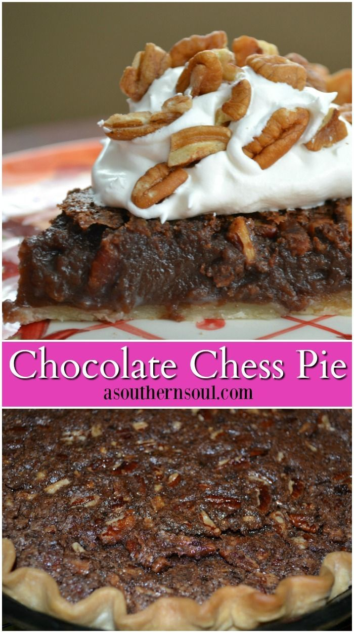 Chocolate chess pie is rich and sweet and comes together in no time from ingredients you probably have in your pantry! #desserts #pie #Chocolate #recipes