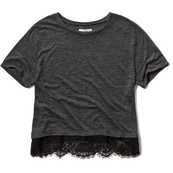 Abercrombie & Fitch Lace Hem Boxy Tee ($27) ❤ liked on Polyvore featuring tops, t-shirts, shirts, navy, navy blue shirt, drapey tee, abercrombie fitch t shirts, navy blue lace shirt and draped shirt