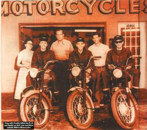 """Funny story about this pic - Although they are pictured here on Triumph's, Buddy Holly and his band first went to the local Harley dealer, but were told """"not to touch the bikes"""" when they came into the dealer. Buddy and his band promptly went to the Triumph dealer down the street where they were treated better and bought the new bikes."""