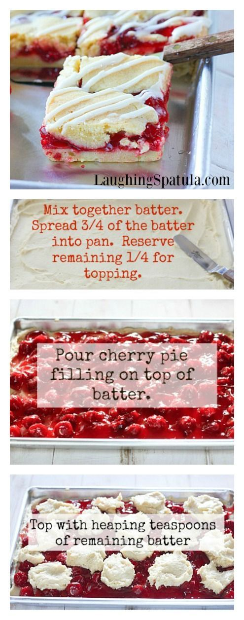 CHERRY PIE BARS!  Valentines Day Treat! So much easier than pie!  laughing spatula.com