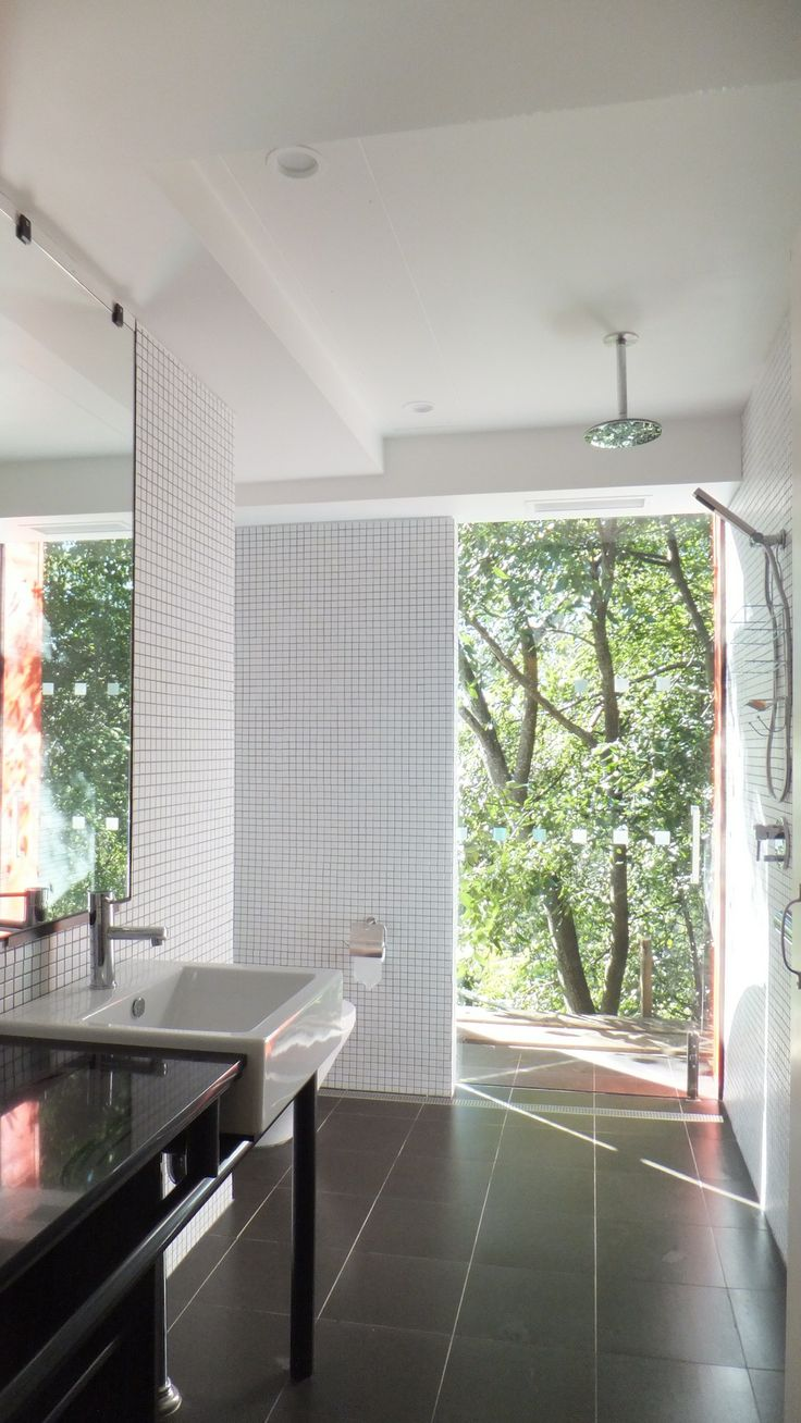 Bathroom with bush outlook