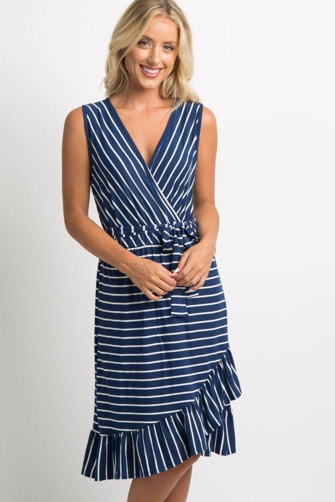 2a969ea7bca53 Navy Striped Ruffle Hem Waist Tie Wrap Dress   FASHION   Wrap Dress ...