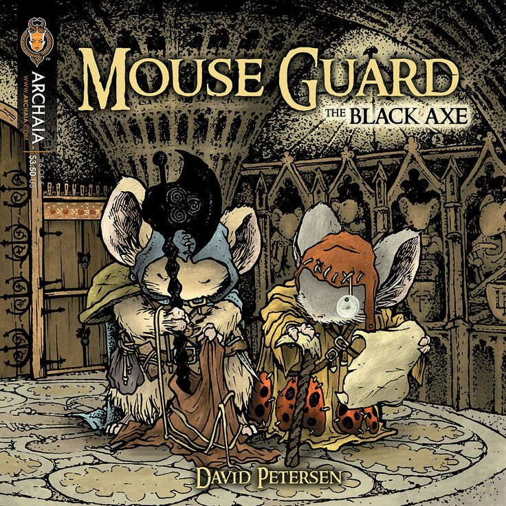 Mouse Guard: The Black Axe #6. Cover by David Petersen.