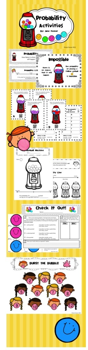 Probability activities to introduce the topic to your students in a fun way using gumball machines.  Posters, probability lines, a QR code activity and game are just some of the activities included in this unit.