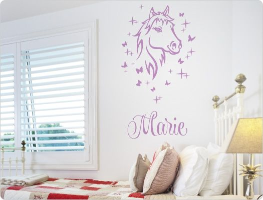Marvelous Kinderzimmer Wandtattoo Pferd mit Name