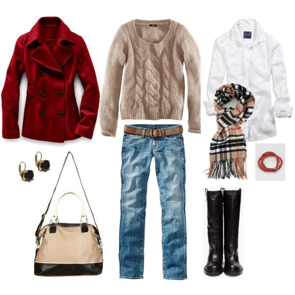Red, Khaki and Black, created by bluehydrangeaCozy, Khakis, Clothing, Fashion Styles, American Eagle Outfitters, Bluehydrangea Polyvore Com, Favorite Outfit, Fall Winte Fashion, Black
